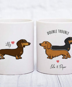 il fullxfull.1993572652 ip7m 247x300 - Custom Dachshund Mug, Personalized Doxie Wiener Dachshund Gift, Double Trouble Dachshund Mug, Dapple Long Wirehaired Dachshund Owner Mug