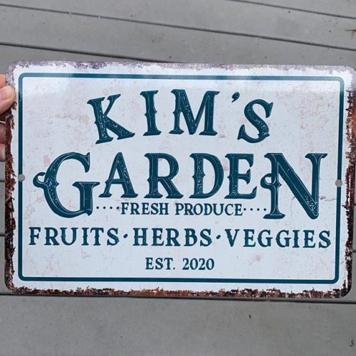 Personalized Vintage Distressed Look Fruit, Herbs and Veggie Garden Metal Room Sign - Rustic sign - Welcome sign - Custom door signs photo review