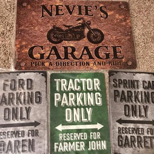 Custom Rusty Design Motorcycle Garage Metal Sign photo review