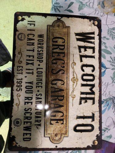 Custom Rustic White Rusty Metal Garage Sign photo review