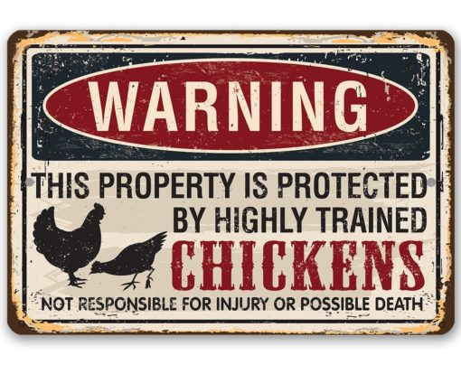 il fullxfull.2276418048 xv40 510x414 - Metal Sign - Property Protected by Chickens - Use Indoor/Outdoor - Great Home and Farmhouse Décor
