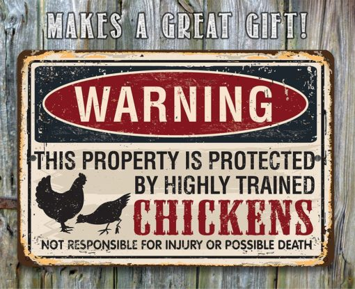 il fullxfull.2324013567 qymh 510x415 - Metal Sign - Property Protected by Chickens - Use Indoor/Outdoor - Great Home and Farmhouse Décor
