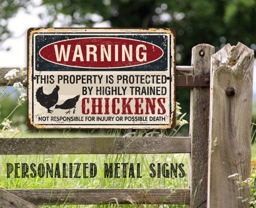 il fullxfull.2324013579 2byy 510x415 - Metal Sign - Property Protected by Chickens - Use Indoor/Outdoor - Great Home and Farmhouse Décor