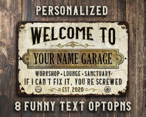 il fullxfull.2470117448 o4p6 510x408 - Custom Rustic White Rusty Metal Garage Sign