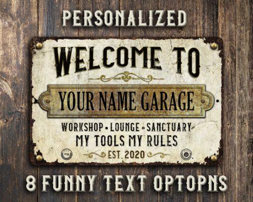 il fullxfull.2517789501 o0uy 510x408 - Custom Rustic White Rusty Metal Garage Sign
