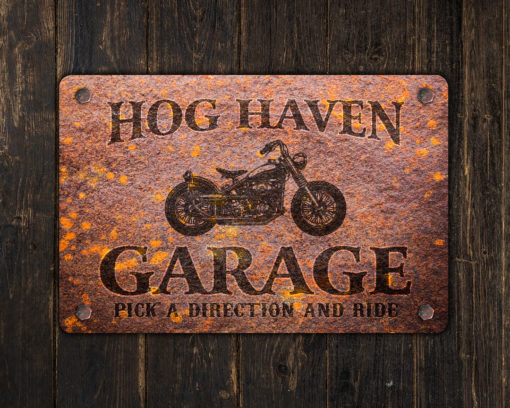 il fullxfull.2575365352 gee7 510x408 - Custom Rusty Design Motorcycle Garage Metal Sign