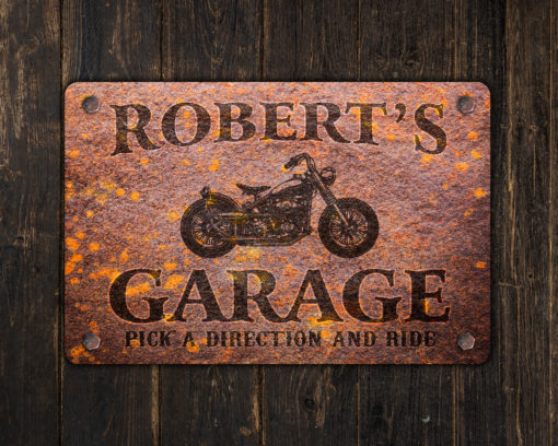 il fullxfull.2575365358 hst7 510x408 - Custom Rusty Design Motorcycle Garage Metal Sign