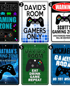 il fullxfull.2670297034 5htg 247x300 - METAL SIGN - Custom Sign with your Name. Gaming Zone Video Computer Do Not Enter Room Door Gag Gift
