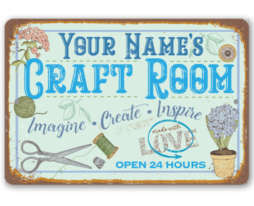 il fullxfull.2708121698 gf7h 510x414 - Personalized - Craft Room Metal Sign - Use Indoor/Outdoor - Gift for Artists & Sculptors, Decor for Sewing Room