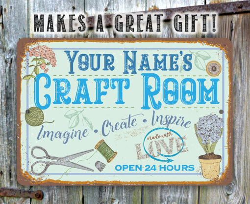 il fullxfull.2755801225 m1nt 510x415 - Personalized - Craft Room Metal Sign - Use Indoor/Outdoor - Gift for Artists & Sculptors, Decor for Sewing Room