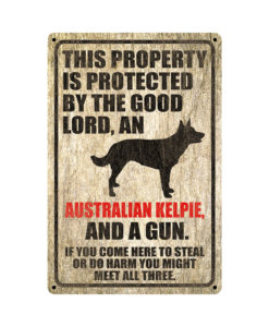 Australian Kelpie Warning Dog Sign Distressed Wood 247x300 - Australian Kelpie Dog Sign Dog Warning Sign Dog Sign Warning Sign Australian Kelpie Gift Sign Gun Sign 2nd Amendment Sign NRA Sign Firearm