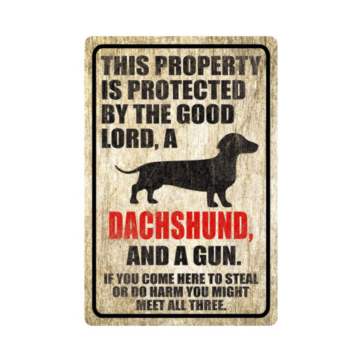 Dachshund Warning Dog Sign Distressed Wood 510x510 - Dachshund Dog Sign Dog Warning Sign Dog Sign Warning Sign Dachshund Gift Sign Gun Sign 2nd Amendment Sign NRA Sign Firearm
