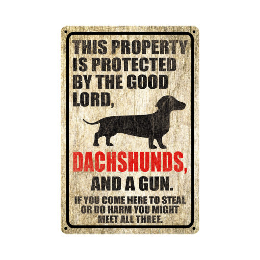 Dachshunds Warning Dog Sign Distressed Wood 510x510 - Dachshund Dog Sign Dog Warning Sign Dog Sign Warning Sign Dachshund Gift Sign Gun Sign 2nd Amendment Sign NRA Sign Firearm