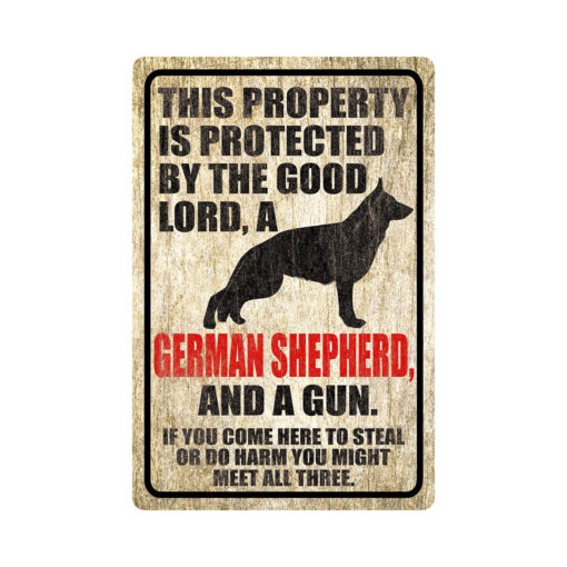 German Shepherd Warning Dog Sign Distressed Wood 510x510 - German Shepherd Dog Sign Dog Warning Sign Dog Sign Warning Sign German Shepherd Gift Sign Gun Sign 2nd Amendment Sign NRA Sign Firearm