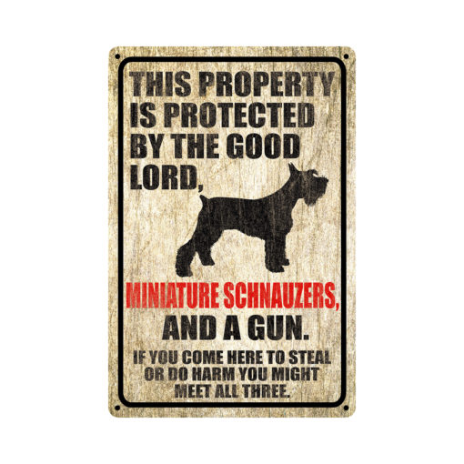 Miniature Schnauzers Warning Dog Sign Distressed Wood 510x510 - Miniature Schnauzer Dog Sign Dog Warning Sign Dog Sign Warning Sign Miniature Schnauzer Gift Sign Gun Sign 2nd Amendment Sign NRA Sign Firearm