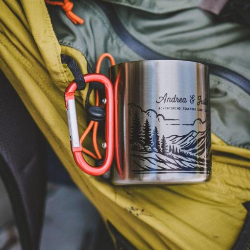 1 510x510 - Personalized 11 oz. Carabiner Campfire Mug - coffee mug, camping, outdoor, camp mug, adventure, Wilde Nomad, mountains, mug, camping mug